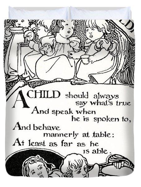 Duty Of Children  1895 Duvet Cover by Daniel Hagerman