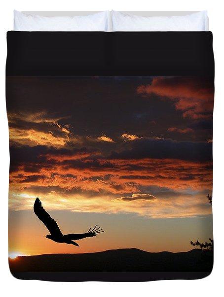 Eagle at Sunset Duvet Cover by Shane Bechler
