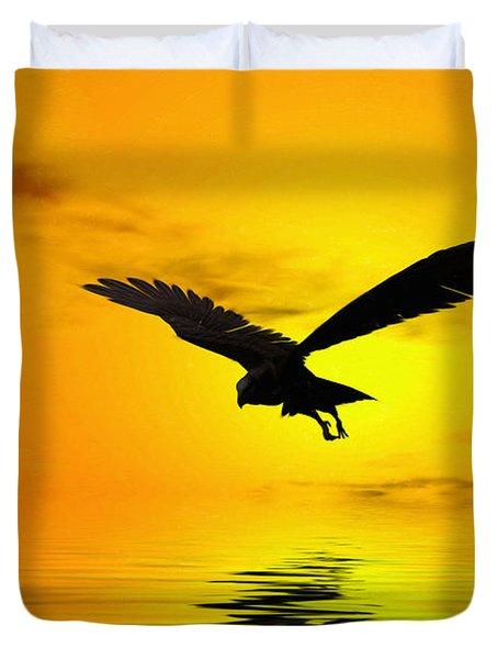 Eagle Sunset Duvet Cover by John Edwards