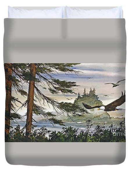 Eagles Majestic Flight Duvet Cover by James Williamson
