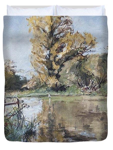 Early Autumn On The River Test Duvet Cover by Caroline Hervey-Bathurst