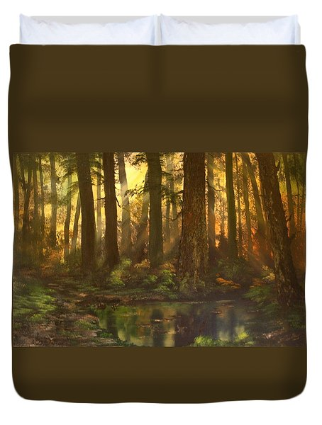 Early Morning Sun On Cannock Chase Duvet Cover by Jean Walker
