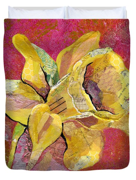 Early Spring I Daffodil Series Duvet Cover by Shadia Derbyshire