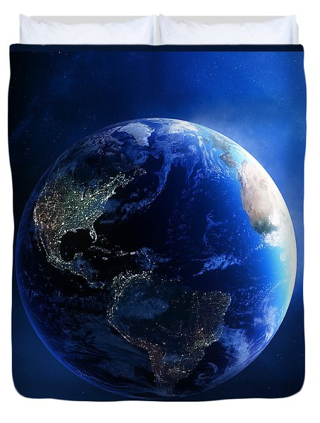 Earth and galaxy with city lights Duvet Cover by Johan Swanepoel