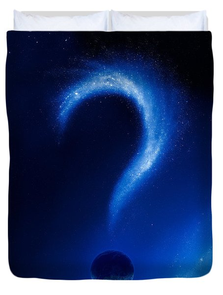 Earth and question mark from stars Duvet Cover by Johan Swanepoel