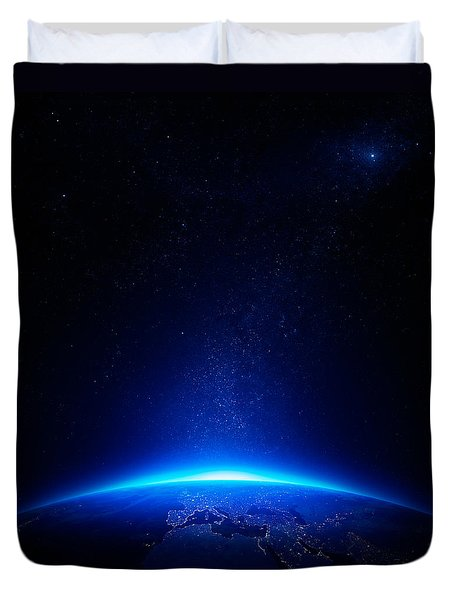 Earth at night with city lights Duvet Cover by Johan Swanepoel