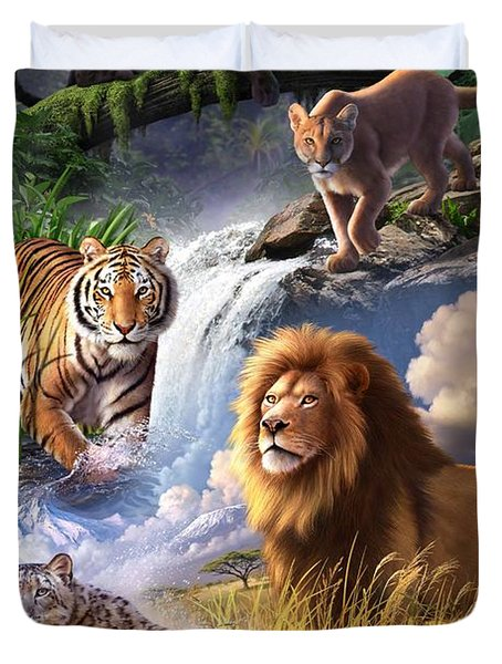Earth Day 2013 Poster Duvet Cover by Jerry LoFaro