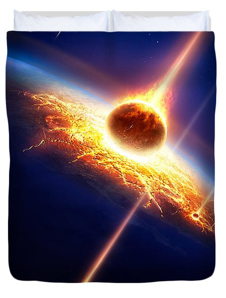 Earth In A  Meteor Shower Duvet Cover by Johan Swanepoel