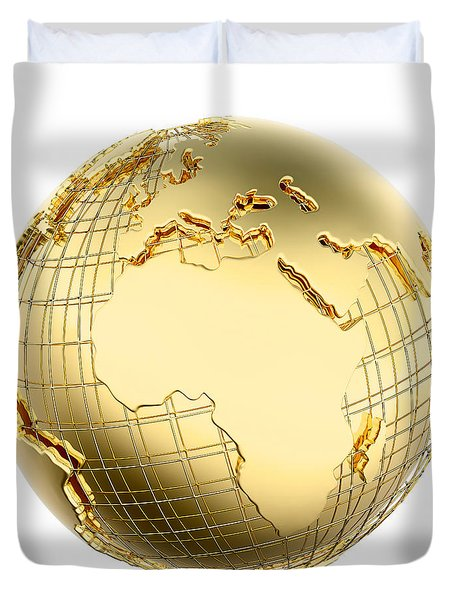 Earth In Gold Metal Isolated - Africa Duvet Cover by Johan Swanepoel