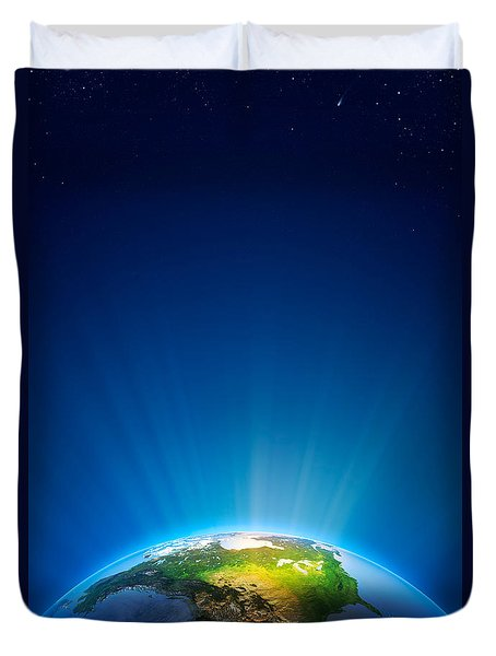Earth Radiant Light Series - North America Duvet Cover by Johan Swanepoel