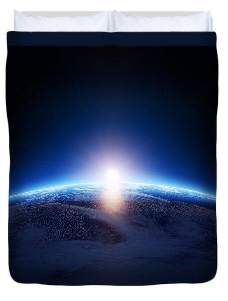 Earth sunrise over cloudy ocean  Duvet Cover by Johan Swanepoel