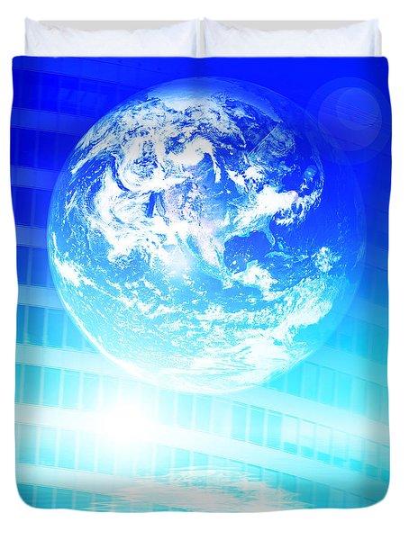 Earth technology background Duvet Cover by Michal Bednarek