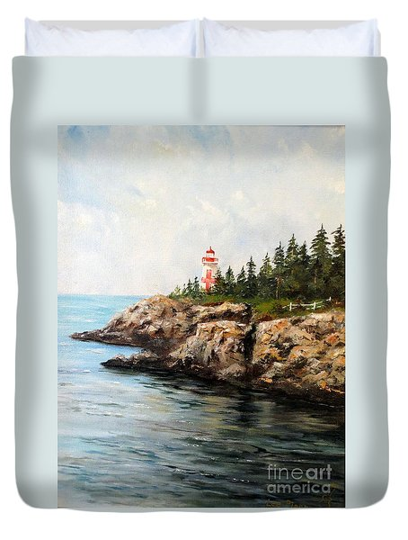 East Quoddy Head Light Duvet Cover by Lee Piper