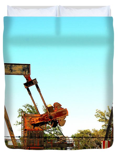 East Texas Oil Field Duvet Cover by Kathy  White