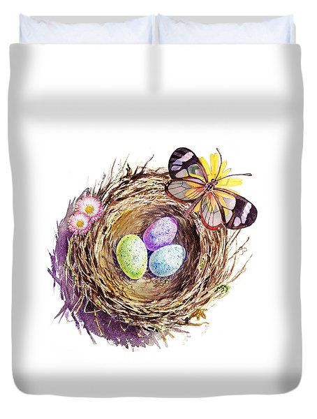 Easter Colors Bird Nest Duvet Cover by Irina Sztukowski