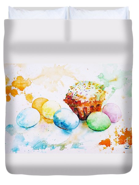 Easter Colors Duvet Cover by Zaira Dzhaubaeva