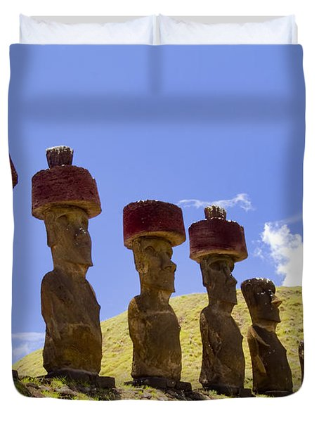 Easter Island Statues  Duvet Cover by David Smith