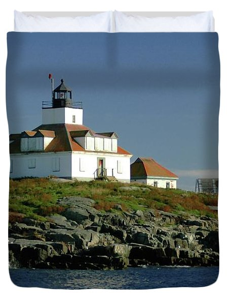 Egg Rock Lighthouse Duvet Cover by Kathleen Struckle