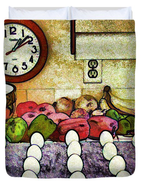 Eggs On Display Duvet Cover by Chuck Staley
