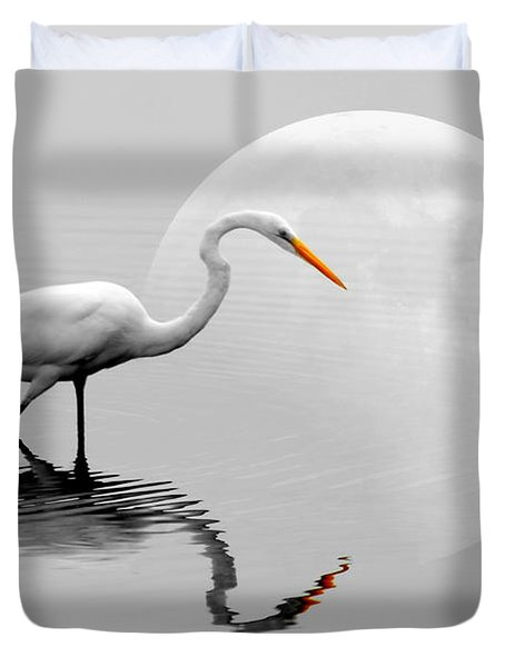 Egret With Moon  Duvet Cover by Diana Angstadt