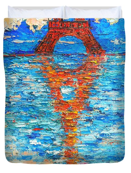 Eiffel Tower Abstract Impression Duvet Cover by Ana Maria Edulescu