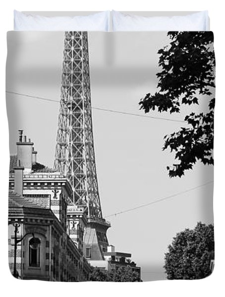 Eiffel Tower Black and White 4 Duvet Cover by Andrew Fare