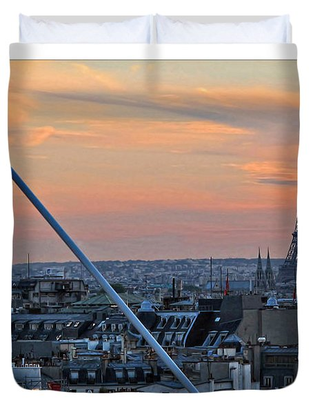 Eiffel Tower From Above Duvet Cover by Joan  Minchak
