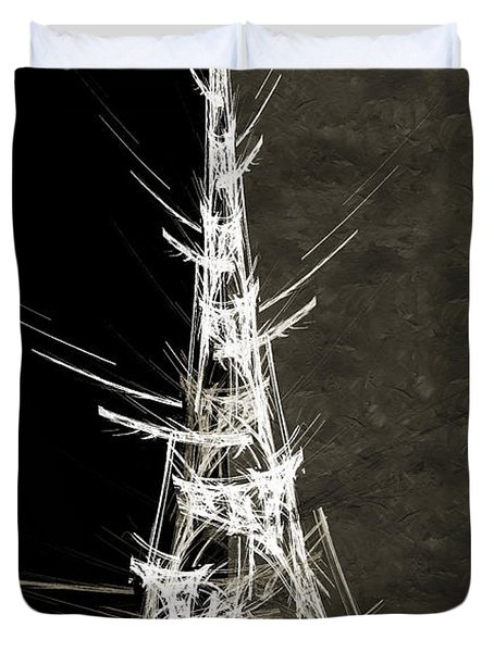 Eiffel Tower In White Bw 2 Abstract Duvet Cover by Andee Design