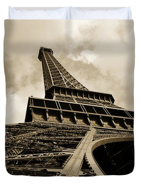 Eiffel Tower Paris France Black And White Duvet Cover by Patricia Awapara