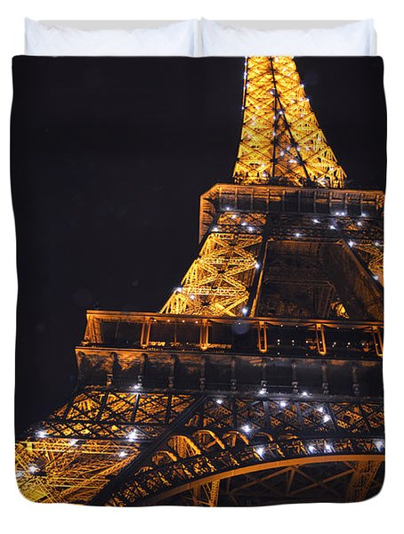 Eiffel Tower Paris France Illuminated Duvet Cover by Patricia Awapara