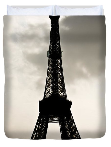 Eiffel Tower Silhouette Duvet Cover by Nila Newsom