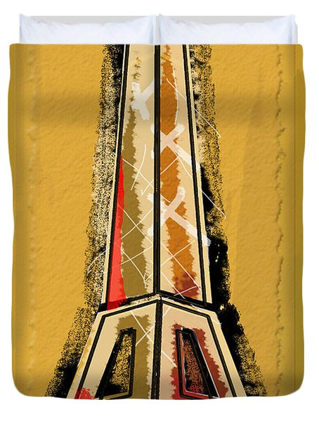 Eiffel Tower Yellow And Red Duvet Cover by Robyn Saunders