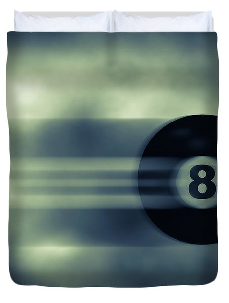 Eight Ball In Motion Duvet Cover by Bob Orsillo