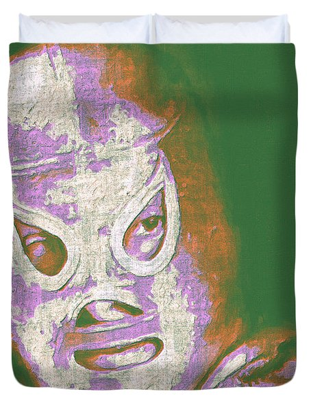 El Santo The Masked Wrestler 20130218v2m128 Duvet Cover by Wingsdomain Art and Photography