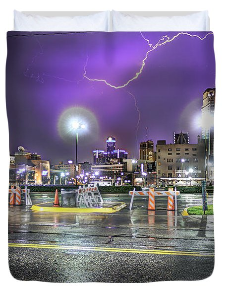 Electric Detroit  Duvet Cover by Nicholas  Grunas