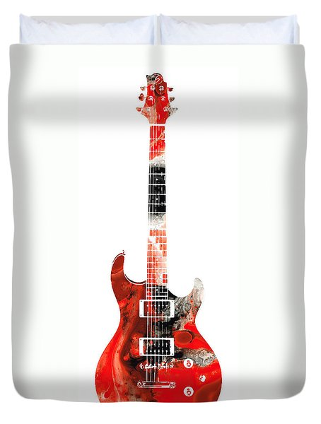 Electric Guitar - Buy Colorful Abstract Musical Instrument Duvet Cover by Sharon Cummings