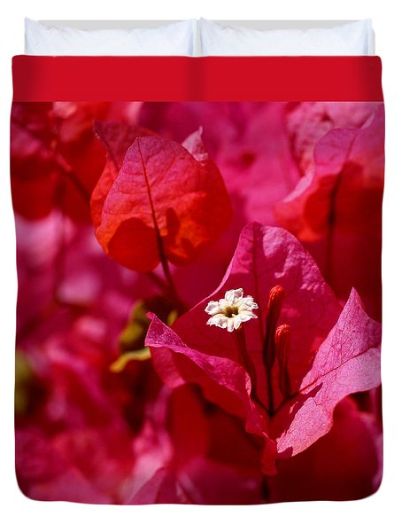 Electric Pink Bougainvillea Duvet Cover by Rona Black