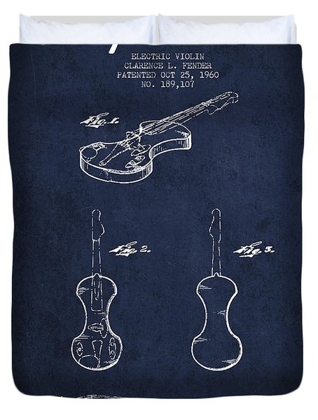 Electric Violin Patent Drawing From 1960 Duvet Cover by Aged Pixel