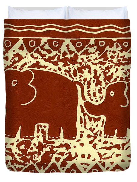 Elephant and calf lino print brown Duvet Cover by Julie Nicholls