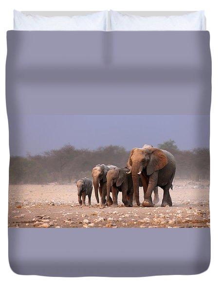 Elephant Herd Duvet Cover by Johan Swanepoel