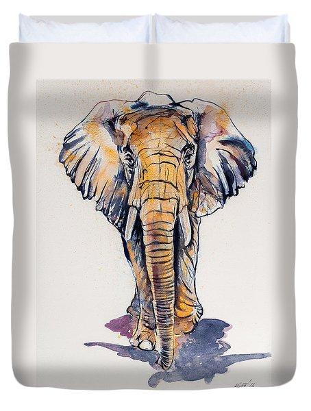 Elephant In Gold Duvet Cover by Kovacs Anna Brigitta