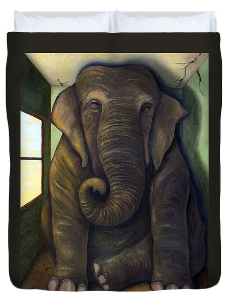 Elephant In The Room Duvet Cover by Leah Saulnier The Painting Maniac