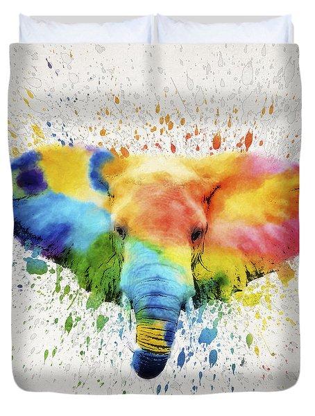 Elephant Splash Duvet Cover by Aged Pixel