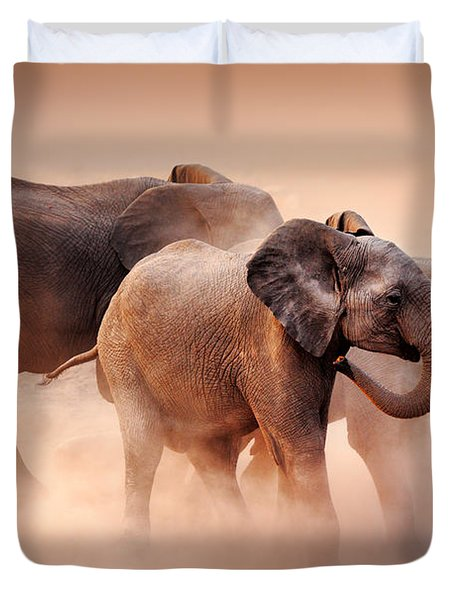 Elephants In Dust Duvet Cover by Johan Swanepoel