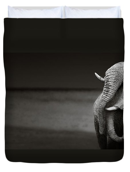 Elephants Interacting Duvet Cover by Johan Swanepoel
