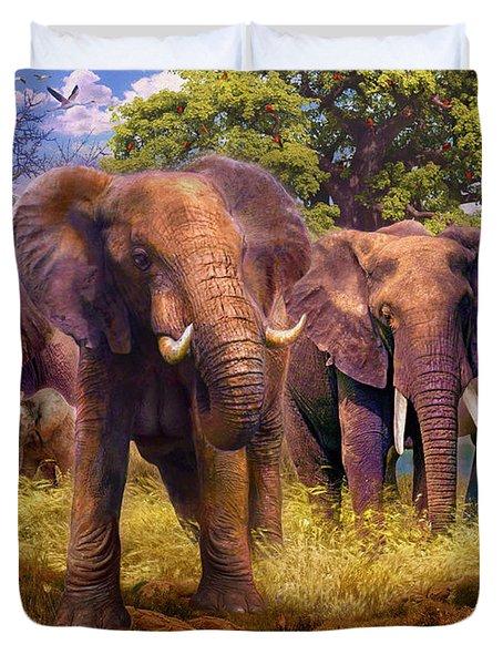 Elephants Duvet Cover by Jan Patrik Krasny