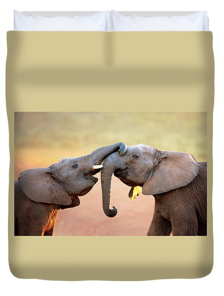 Elephants Touching Each Other Duvet Cover by Johan Swanepoel