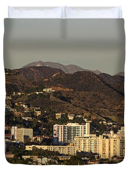 Elevated View Of A City, West Duvet Cover by Panoramic Images