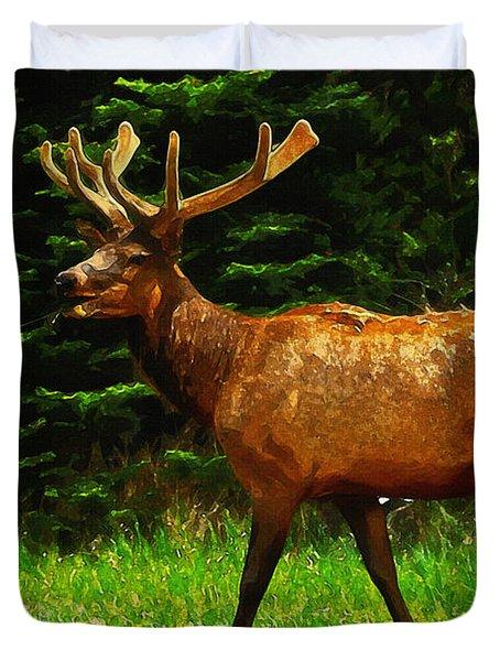 Elk Portrait Duvet Cover by Ayse Deniz