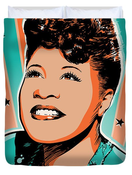 Ella Fitzgerald Pop Art Duvet Cover by Jim Zahniser